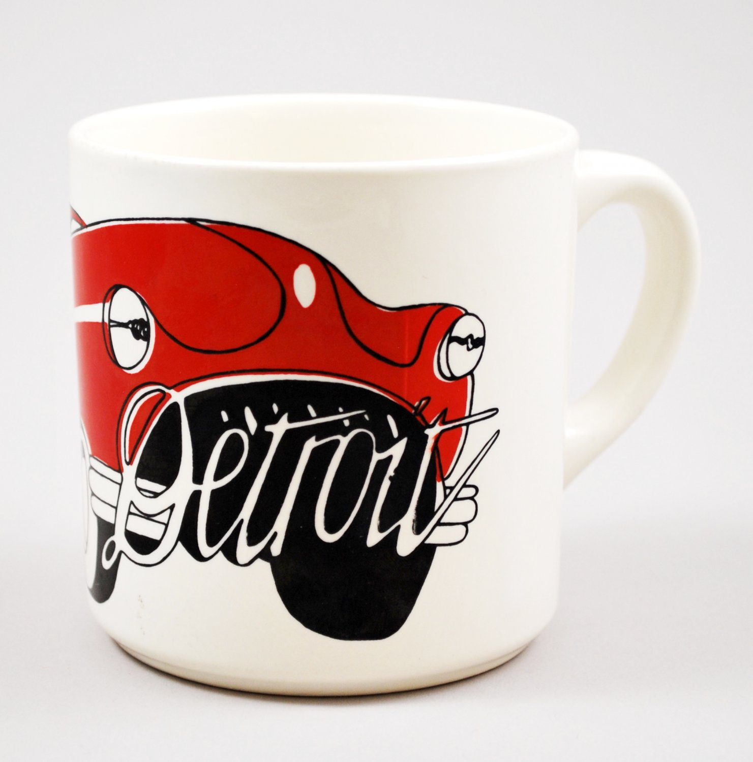 Vintage Detroit Red Automobile Car Ceramic Mug or Coffee Cup