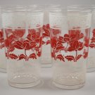 Set of 5 Federal Glass Red Floral White Band Tumblers Mid-Century Drinkware