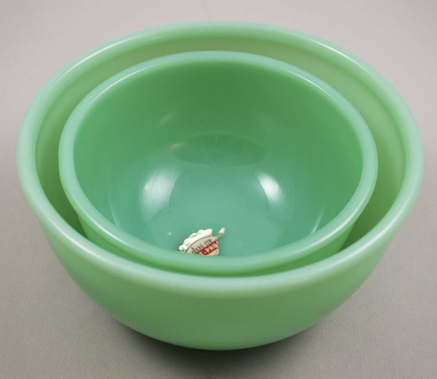 Anchor Hocking Fire-King Jade-ite Beaded Edge Vintage Mixing Bowls Set of 2