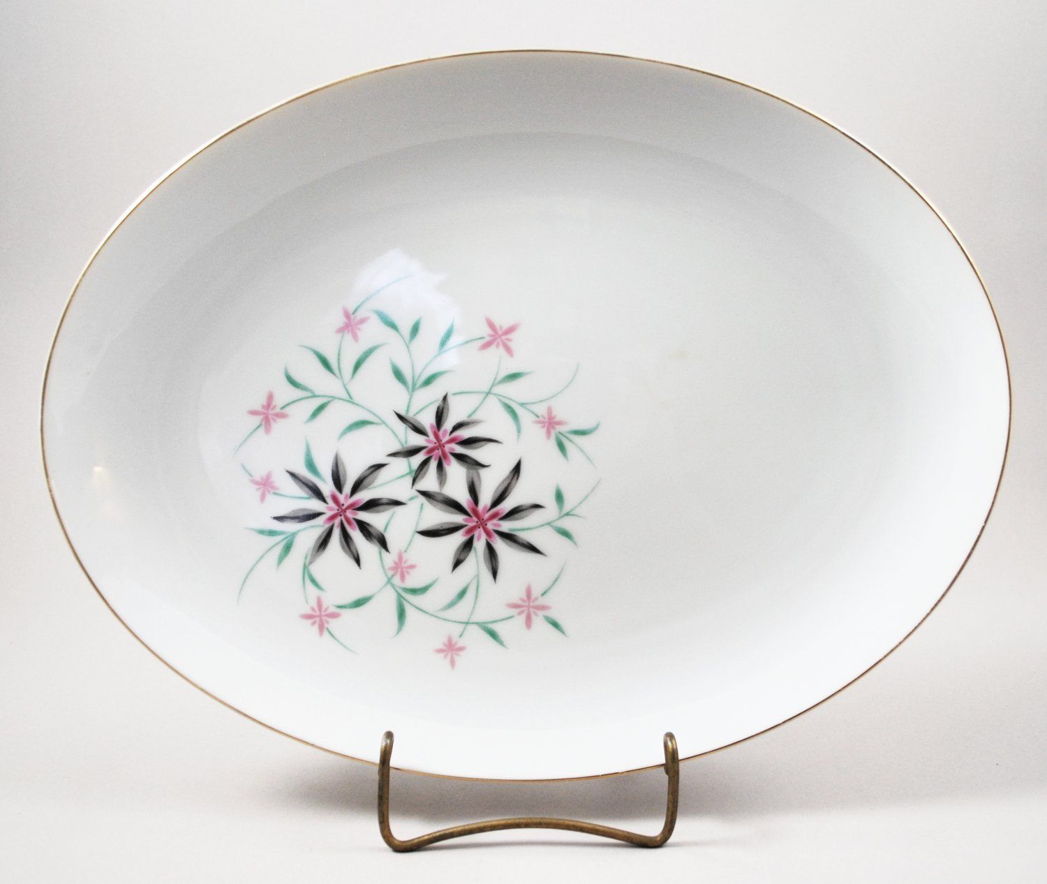 "Contour China Mid-Century Startime Pattern Oval 12"" Platter w/ Gold Trim"
