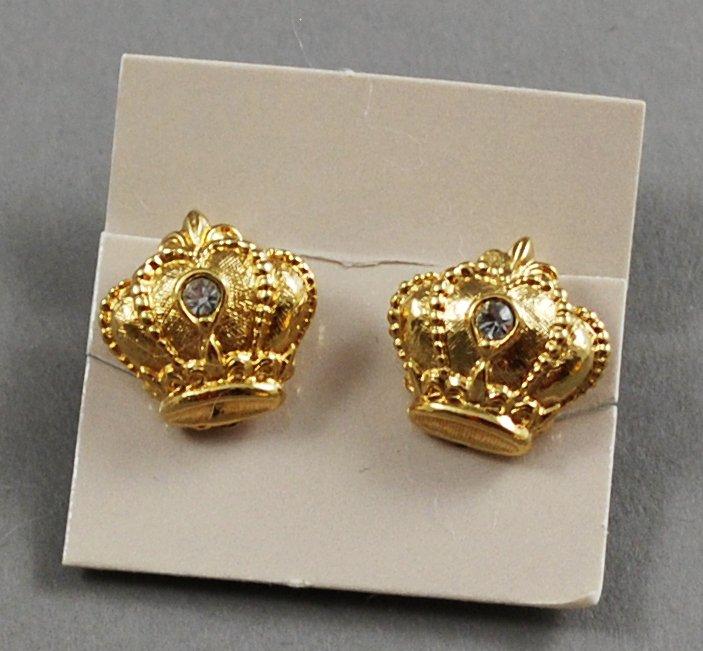 1989 Avon Regal Crown Goldtone w/ Rhinestone Vintage Clip Earrings