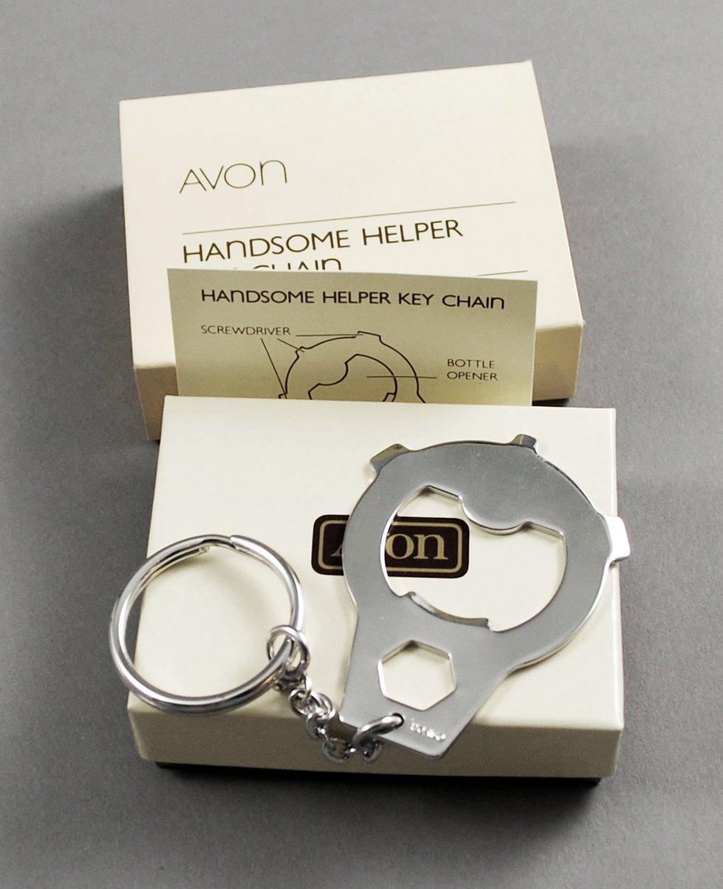 1984 Avon Handsome Helper Silver Tone Key Chain