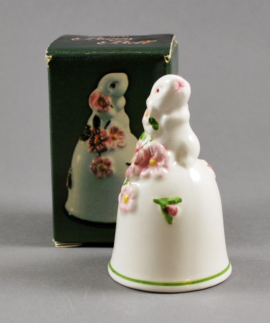 Vintage Avon Easter Bunny White Ceramic Bell w/ Box