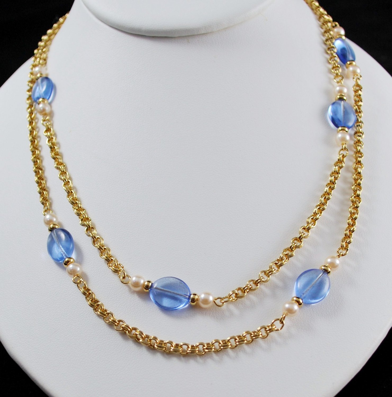 1986 Avon Vintage Venetian Touch Blue Beads Gold Tone Chain Necklace