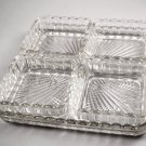 Vintage Clear Square Ribbed Ray Relish Tray w/ 4 Individual Square Dishes