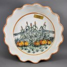 North Carolina Cagle Rd Pottery Autumn Pie Baking Stoneware Dish Pumpkin Scene