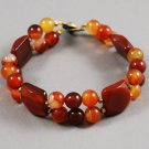 Vintage Thermoset Plastic Amber Brown Cream Beaded Bracelet Button Style Clasp