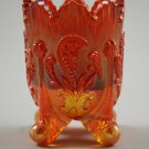 Marigold Inverted Fan and Feather Vintage Glass Toothpick Holder