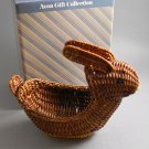 1986 Avon Wicker Menagerie Hare Rabbit Basket