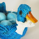 Avon 1991 Blue Country Duck Wicker Basket with Soaps