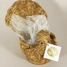 1988 Avon Christmas Sweet Treasures Holiday Golden Dove Wicker Basket