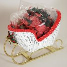 Avon Christmas White Wicker Sleigh Bells in The Snow Potpourri