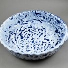 North Carolina Piney Woods Pottery Blue White Scalloped Round Baking Dish