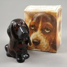 1978 Avon Baby Basset Brown Glass Full Decanter of Topaze Cologne w/ Box