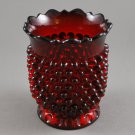 Hobnail with Thumbprint Base Ruby Red Vintage Glass Spooner Bracket Rim Edge