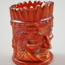 St. Clair Marigold Iridescent Indian Head Carnival Glass Toothpick Holder