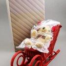 Vintage 1980s Avon Red Wicker Holiday Sleigh w/ Plush Teddy Bear