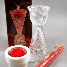 Avon Heart & Diamond Fostoria Clear Glass Convertible Candlestick