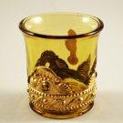 Summit Art Glass Jewel Lacy Medallion Amber Toothpick Holder