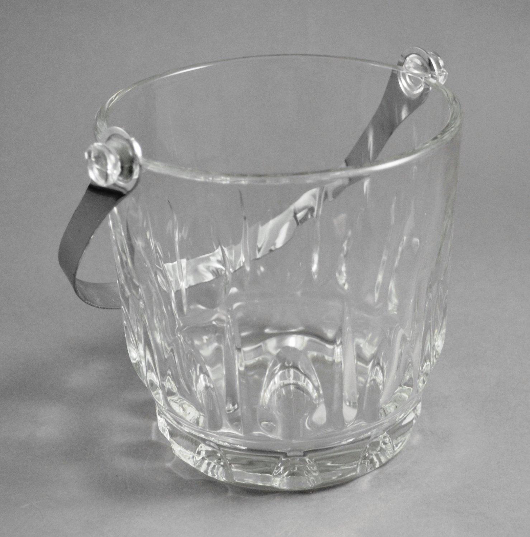 Vintage Crystal Thumbprint Ice Bucket w/ Silver Metal Handle