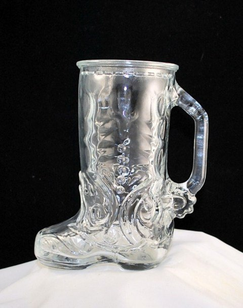 Clear Glass Cowboy Boot Mug Vase Libbey Of Canada
