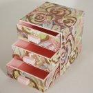 1988 Avon Pink Floral Plastic Impressions Jewelry Box w/ Drawers
