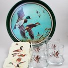 Vintage Avon Chesapeake Collection Tray Glass Tumblers, Coasters & Jigger Glass
