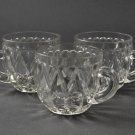 Set of 3 Greentown Shuttle Dongola Hearts of Loch Laven Crystal Clear Punch Cups