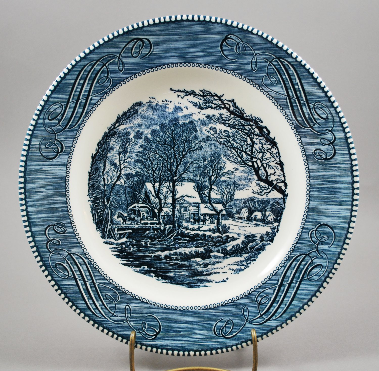 Royal China Dinnerware Vintage Blue Currier & Ives Dinner Plate