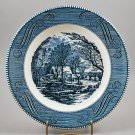 Royal China Dinnerware Vintage Blue Currier & Ives Dinner Plate