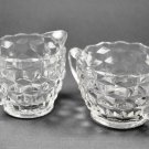 Jeannette Depression Crystal Clear Cubist Glass Open Sugar and Creamer