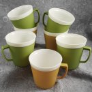 Vintage Set of 7 Harvest Gold Avocado Green  Melmac Flared Thermo Mugs