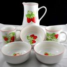 Strawberry Vintage Porcelain Breakfast Set Cups Milk Pitcher Cereal Bowls