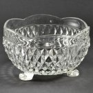 Vintage Indiana Glass Diamond Point Crystal Clear Ftd Bowl w/ Scalloped Rim