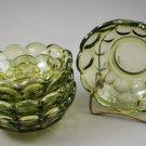 Set of 4 Indiana Yorktown Thumbprint Avocado Green Glass Bowls