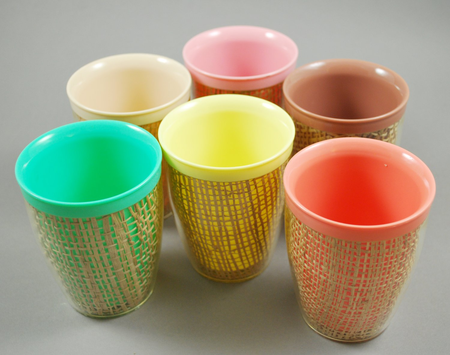 Set of 6 Thermo-Temp Thermoware Burlap Small Mid-Century Tumblers