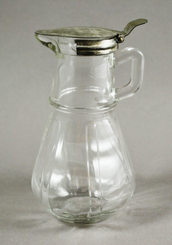 Hazel Atlas Clear Depression Glass Syrup Pitcher Metal Lid