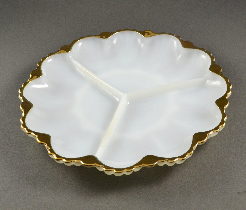 Anchor Hocking 3-Part Round Relish Anchorwhite Plate w/ Gold Trim