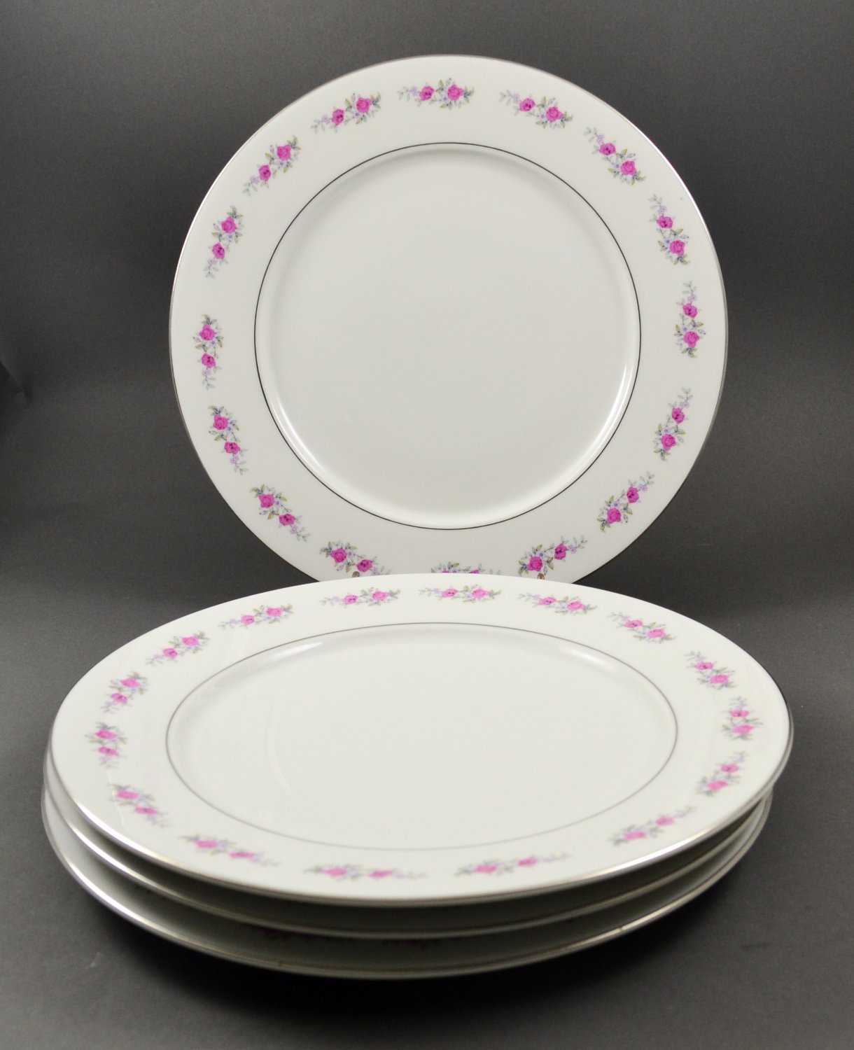 Set of 4 China Dinner Plates w/ Pink Floral on White with Platinum Trim