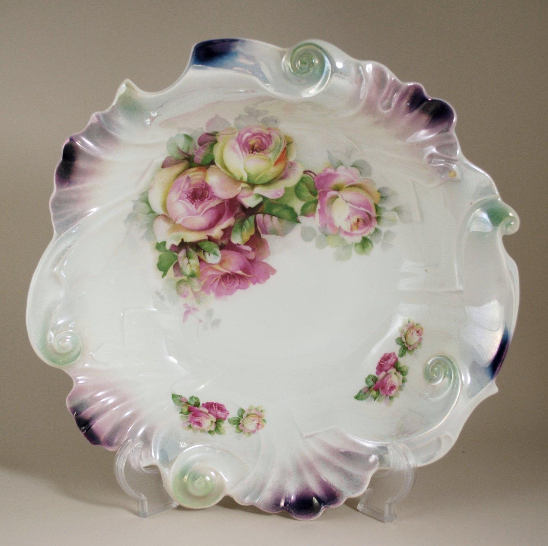 J.S.V. Germany Roses Porcelain Serving Bowl