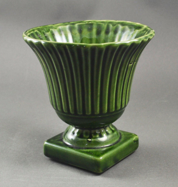 Vintage Pottery Green Ribbed Pedestal Vase Planter