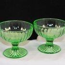 Set of 2 Hazel Atlas Depression Glass Ribbon Green Stemmed Sherbet