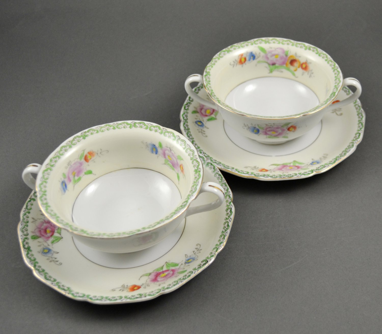 Set of 2 Seyei Toki Porcelain Cream Soup w/ Saucer Bowls