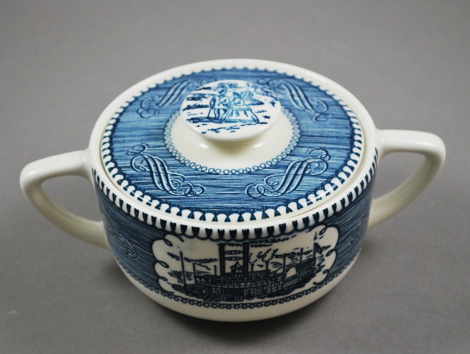 Royal China Currier & Ives Covered Sugar On The Mississippi