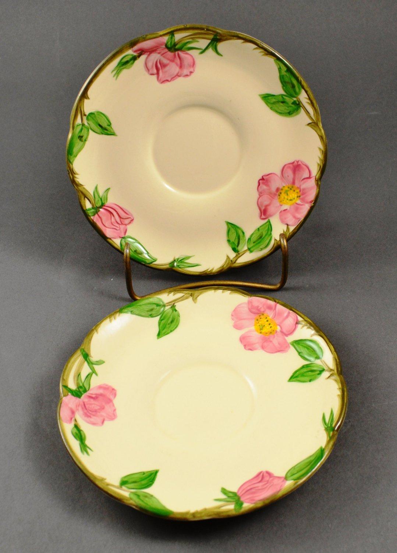 Set of 2 Vintage Franciscan Dinnerware Desert Rose Saucers