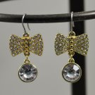 Pierced Dangling Earrings Goldtone Bow Setting  w/ Clear Rhinestones and Faceted Clear Bead