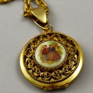 Vintage Locket Gold Tone Necklace Filigree Victorian Garden Scene