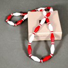 1989 Avon Classic Lines Necklace Red and White Beads