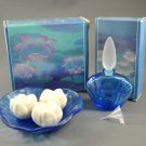 Avon 1985 Water Lily Blue Glass Perfume Cologne Bottle & Soap Dish w/ Soaps