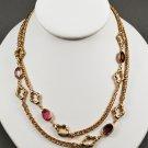 1983 Avon Allegro Stone Gold Tone Chain Necklace 36 inches